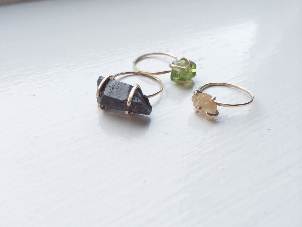 Black Crystal Quartz Ring