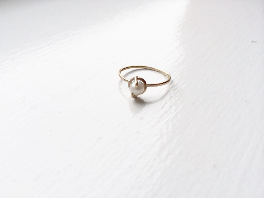Two Prong Pearl Ring