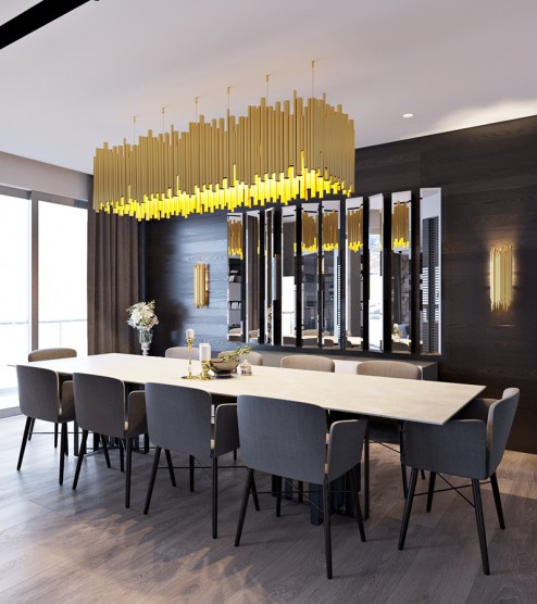 Wkf co here s to gold who knows fashion for Modern formal dining room