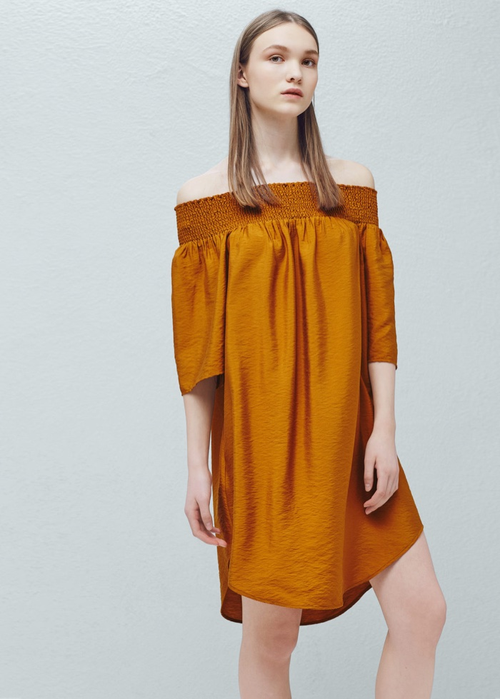 Mango-Flowy-Off-Shoulder-Dress